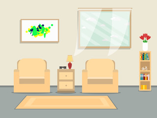 Livingroom with sofa, window, display, lamp and other things. illustration flat