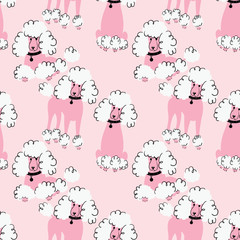 Doodle poodle seamless pattern