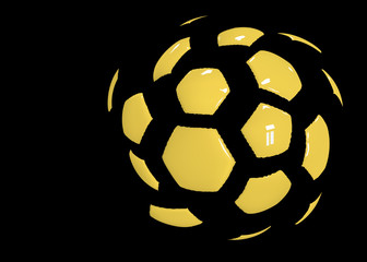 Sport banner. Flying patches of football ball. Gold tones.