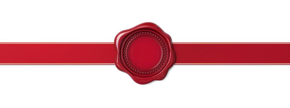 Red wax seal with horizontal ribbon