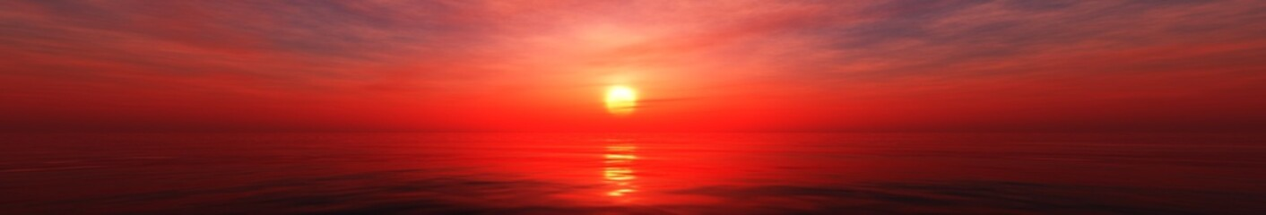 Beautiful panorama of the sea sunset, ocean sunrise, radiance above the water, 3d rendering