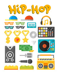 Hip hop accessory musician with microphone breakdance expressive rap symbols vector illustration.