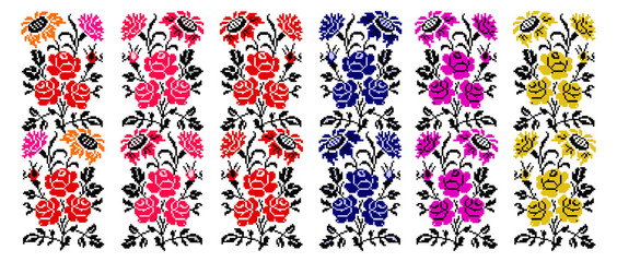 Set. Bouquet of flowers (roses, cloves and sunflowers) using traditional Ukrainian embroidery elements.  Border pattern. Can be used as pixel-art.