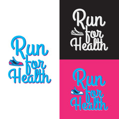 Run for Health. Collection of Three Logotypes