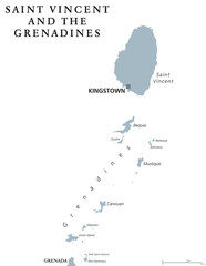 Saint Vincent and the Grenadines political map with capital Kingstown. Caribbean islands country, part of Lesser Antilles and Windward Islands. Gray illustration over white. English labeling. Vector.