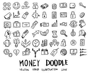 Money doodles sketch vector ink eps10