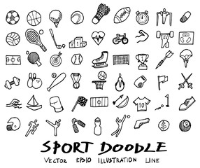 Doodle line sports  Vector illustration eps10