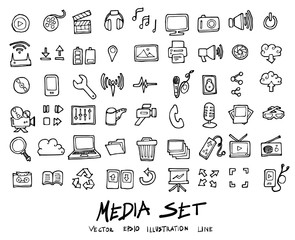 Doodle vector media icons set illustration drawing eps10