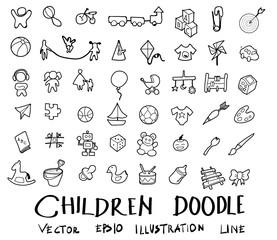 Hand drawn children doodle set eps10
