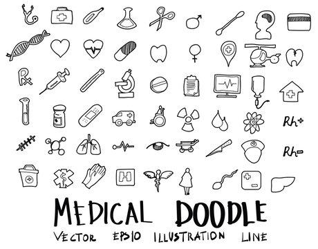 Hand drawn medicine icon set eps10