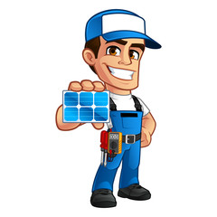 Friendly technician installer of solar panels, he wears a belt with tools