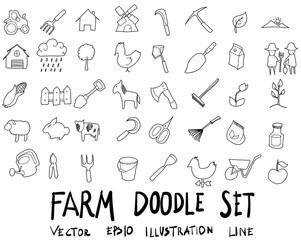 Doodle sketch farm icons Illustration eps10