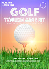 Poster Template with Golf Tournament. Golf ball on grass at sunset. Cup and Trophy Advertising. Sport Event Announcement. Vector Illustration.