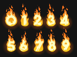 Set of burning fiery numbers for hot offers, discounts and global warming or summer themes