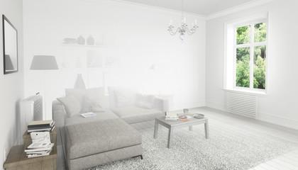 Bücher im Wohnzimmer, Einrichtung und Dekoration (Konzept)