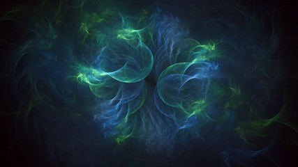 3D rendering abstract colored fractal on black background