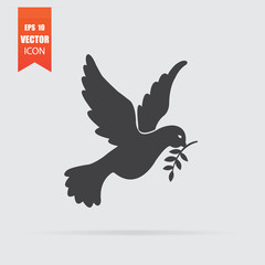 Dove of peace icon in flat style isolated on grey background.