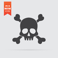 Skull icon in flat style isolated on grey background.