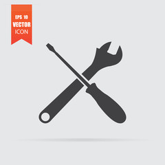 Tools icon in flat style isolated on grey background.