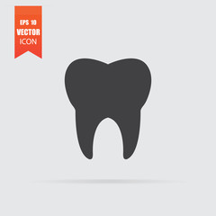 Tooth icon in flat style isolated on grey background.
