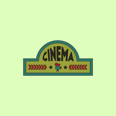 movie sign Vector illustration in flat style cinema label