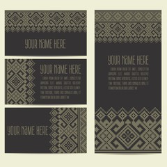 Invitation, cards with ethnic ornamental elements. Ukranian ethnic ornaments. Business cards. eps10
