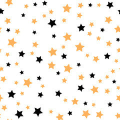 Seamless pattern with gold and black stars. Vector illustration.