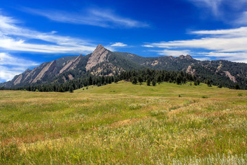 Flatiron with Grassy Field in Boulder, Colorado