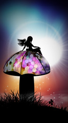 Steampunk fairy sitting on mushroom silhouette art photo manipulation