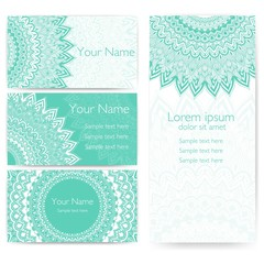 Wedding invitation and announcement card with ornamental round lace with arabesque elements. Mehndi style. Orient traditional ornament. Zentangle-like round colored floral ornament.