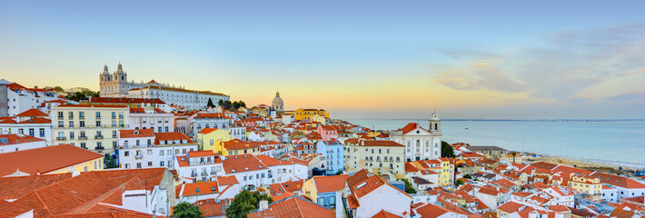 Lisbon Historical City Panorama, Alfama architecture Wall mural