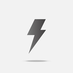 Thunder bolt flat design vector with shadow