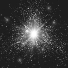 Abstract vector triangle grayscale space background. Explosion of glowing particles. Christmas star. Futuristic technology style. Elegant background for business presentations or gift cards.EPS10