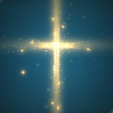 Shining cross on blue background with backlight and glowing yellow particles. Abstract vector religious background. Glowing saint cross. Spiritual shining background. EPS 10