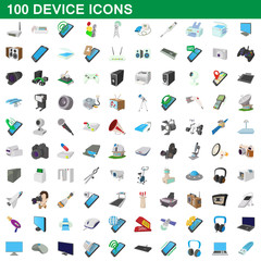 100 device icons set, cartoon style