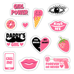 Sweet and funny stickers collection with ice cream, break heart, strawberry, big lips, eyes, donuts and phone. Call me. Girl power. Daddy's girl. Forever or never. Kiss me.