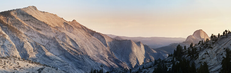 Panoramic view over a Half Dome at Yosemite National Park in California