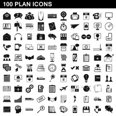 100 plan icons set, simple style