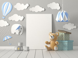 Mock up blank poster on wall of nursery room, Childhood, 3D rendering.