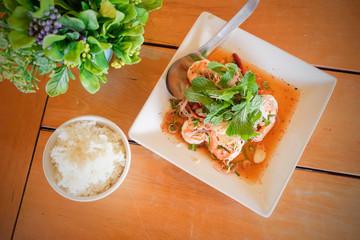 Thai spicy shrimp salad