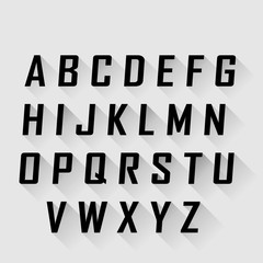 alphabet with long shadow effect, vector illustration