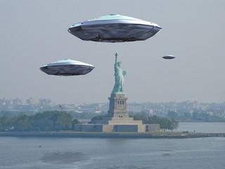 In de dag UFO Visitors Alien craft near New York City
