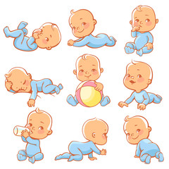 Cute little baby boy in blue papamas. Child wearing blue overalls sleeping, sitting, crawling, eating. Happy newborn. Toddler with bottle of milk. Vector illustration.