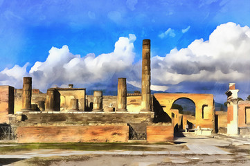 Colorful painting of Forum