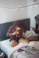 Young woman smoking a bong