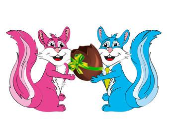pasqua auguri con coppia scoiattoli e uovo