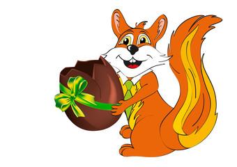 pasqua auguri con scoiattolo e uovo