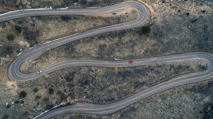 High angle view of winding road