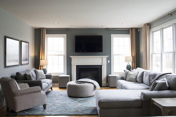 Sofas arranged in modern living room