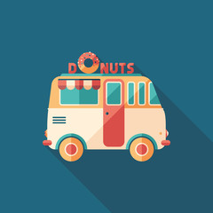Donuts van flat square icon with long shadows.